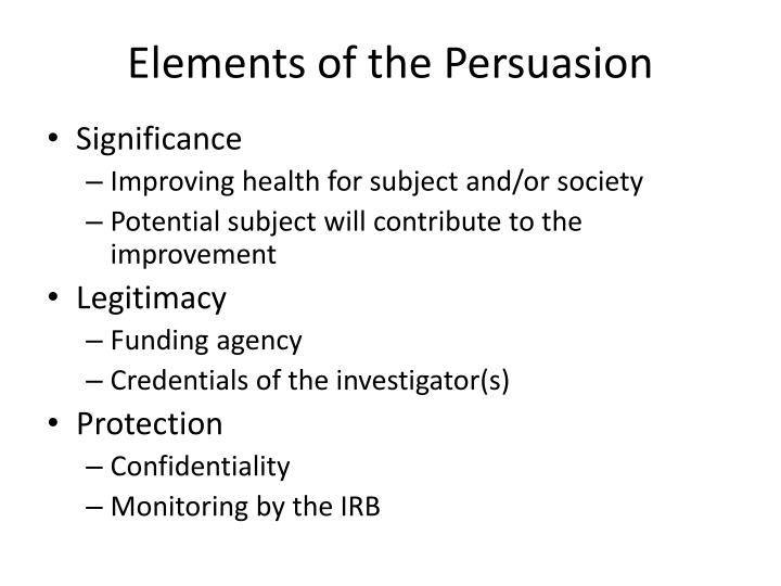 Elements of the Persuasion