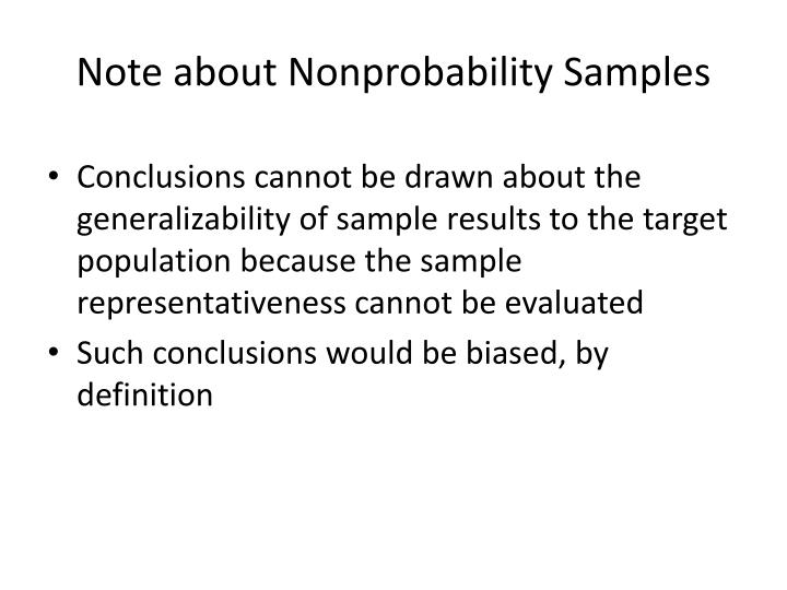 Note about Nonprobability Samples