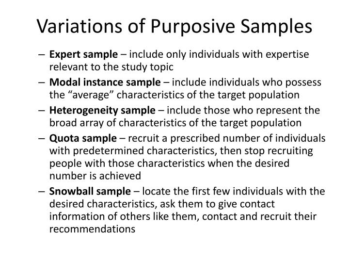 Variations of Purposive Samples