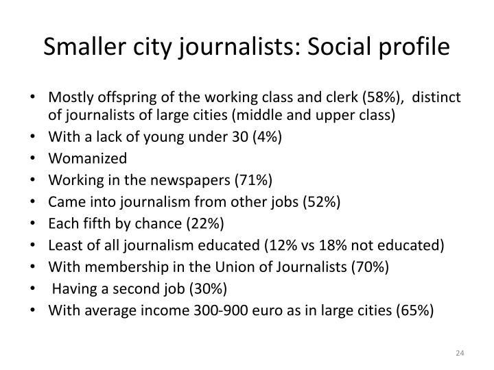Smaller city journalists: Social profile