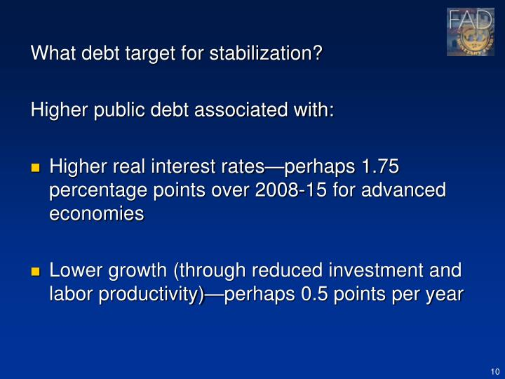 What debt target for stabilization?