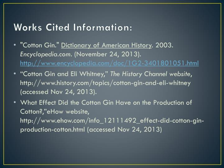 Works Cited Information:
