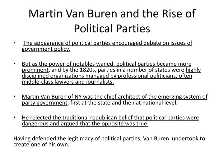 Martin Van Buren and the Rise of Political Parties