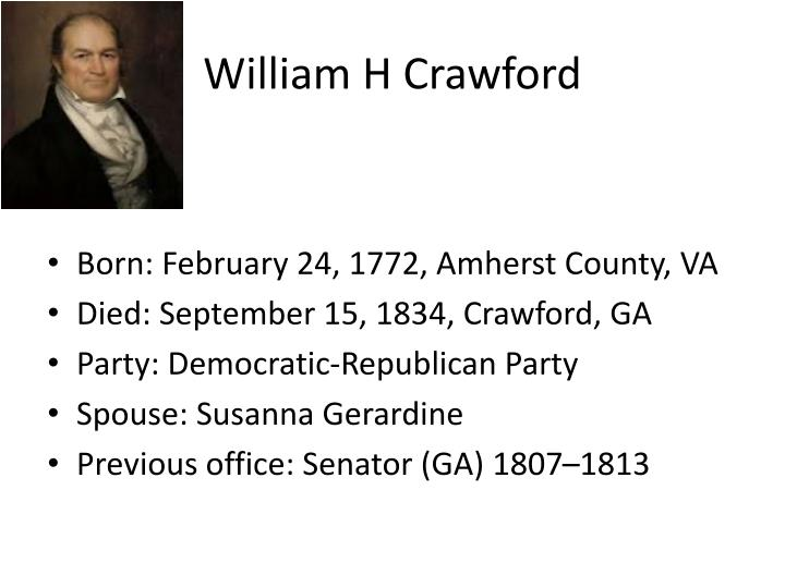 William H Crawford