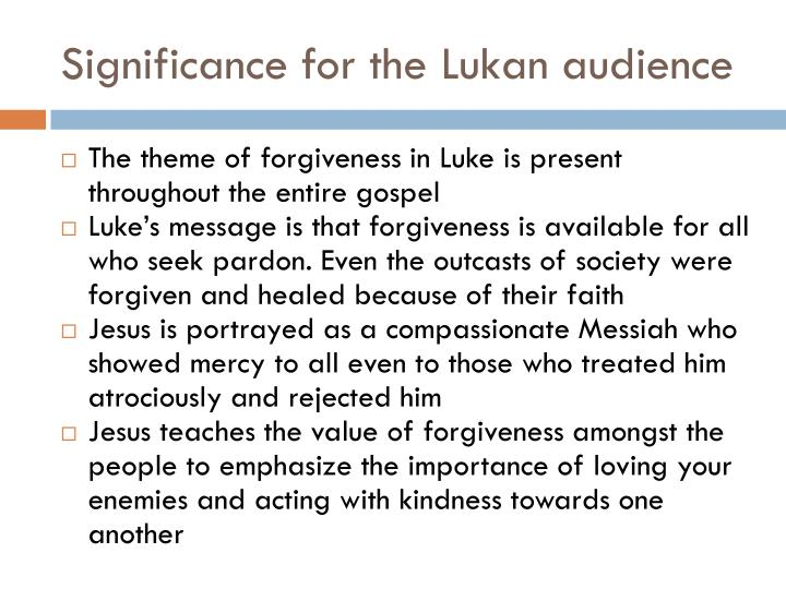 Significance for the Lukan audience