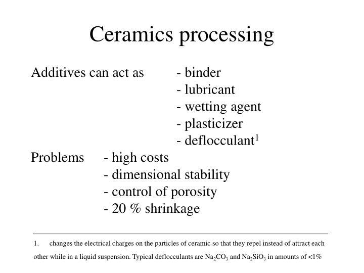 Ceramics processing