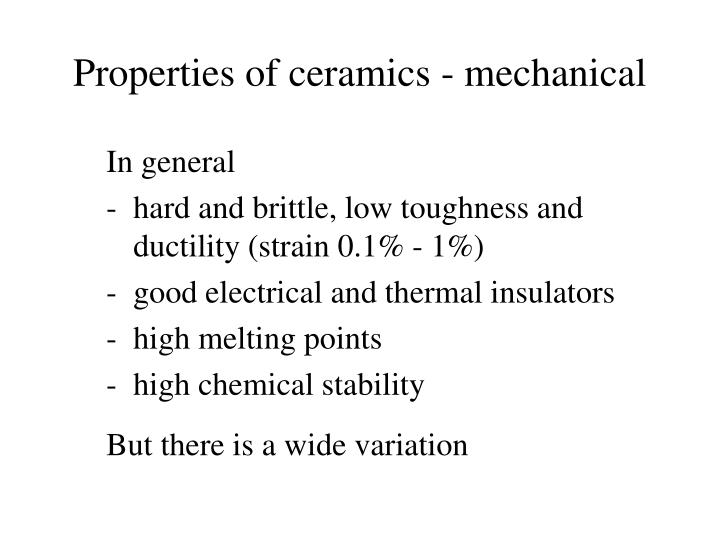 Properties of ceramics - mechanical
