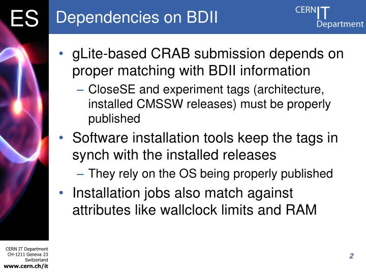 Dependencies on bdii