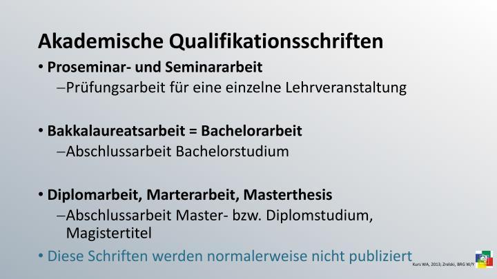 Akademische Qualifikationsschriften