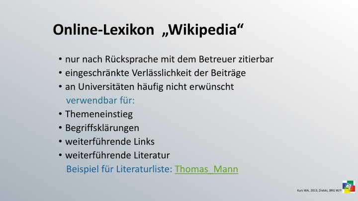 """Online-Lexikon  """"Wikipedia"""""""