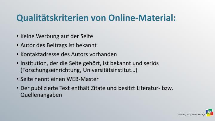Qualitätskriterien von Online-Material: