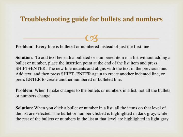 Troubleshooting guide for bullets and numbers