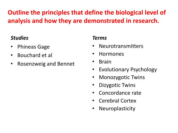 Outline the principles that define the biological level of analysis and how they are demonstrated in research.