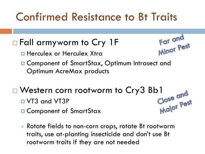 Confirmed Resistance to Bt Traits