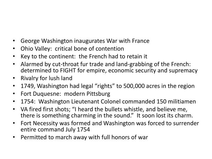 George Washington inaugurates War with France