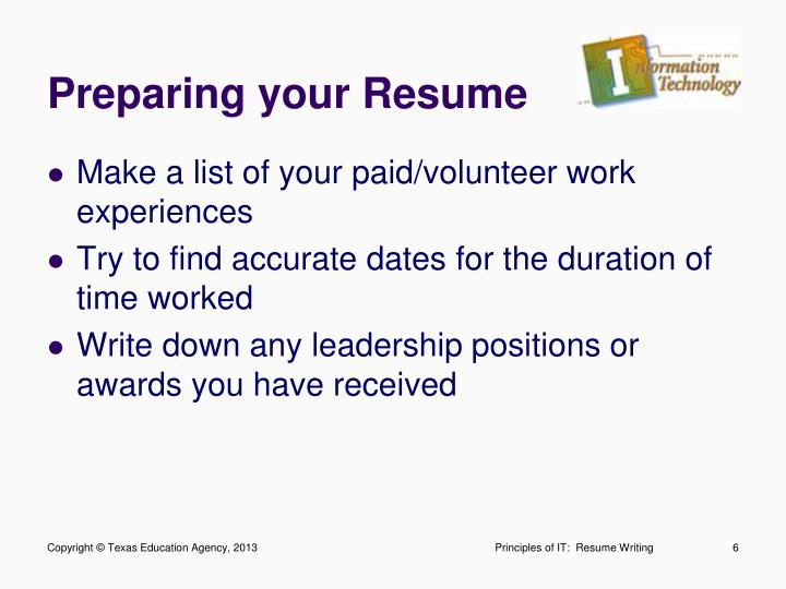 Preparing your Resume