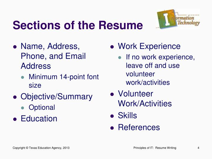 Sections of the Resume