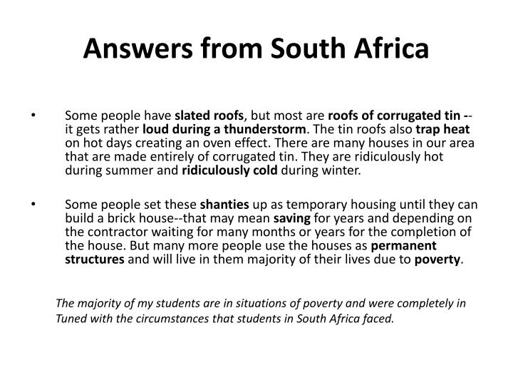 Answers from South Africa