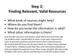 step 2 finding relevant valid resources