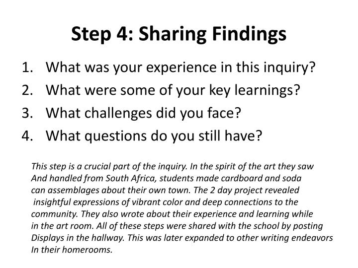 Step 4: Sharing Findings