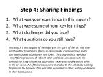 step 4 sharing findings