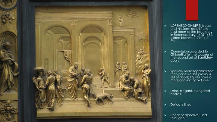 "LORENEZO GHIBERTI, Isaac and His Sons, detail from east doors of the baptistery in Florence, Italy, 1425-1452, gilded bronze, 2' 7½"" x 2' 7½"""