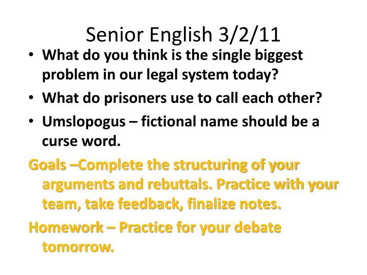 Senior English 3/2/11