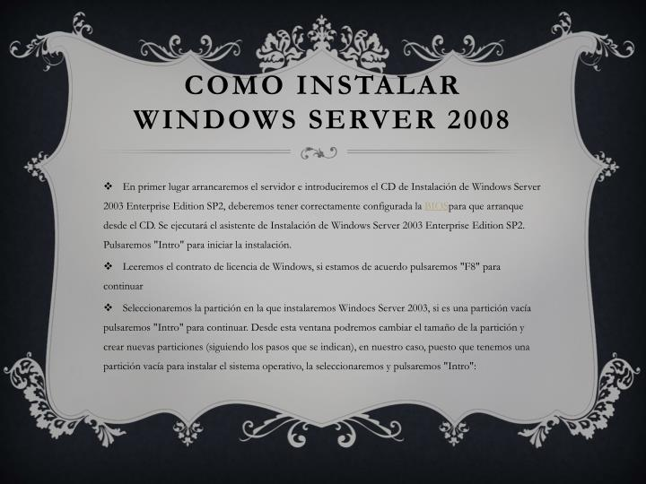 Como instalar Windows server 2008
