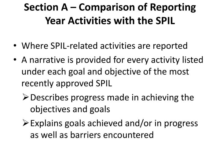 Section A – Comparison of Reporting Year Activities with the SPIL