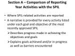section a comparison of reporting year activities with the spil
