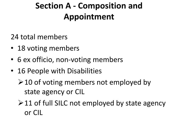 Section A - Composition and Appointment