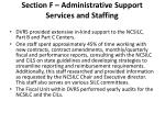 section f administrative support services and staffing