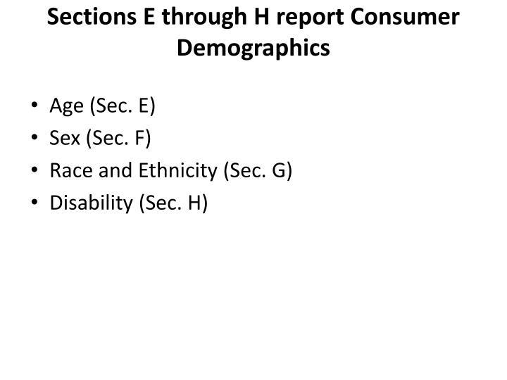 Sections E through H report Consumer Demographics