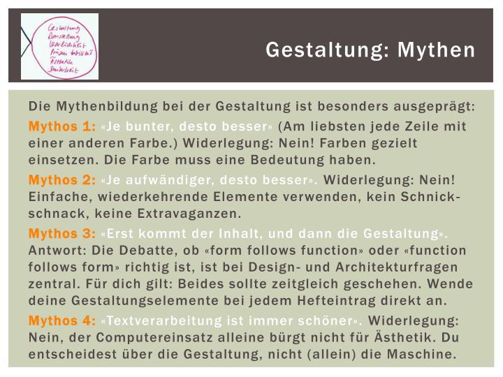 Gestaltung: Mythen