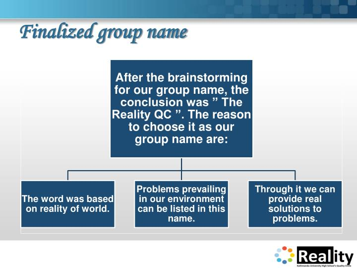 Finalized group name