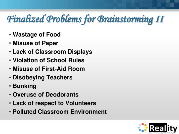 Finalized Problems for Brainstorming II