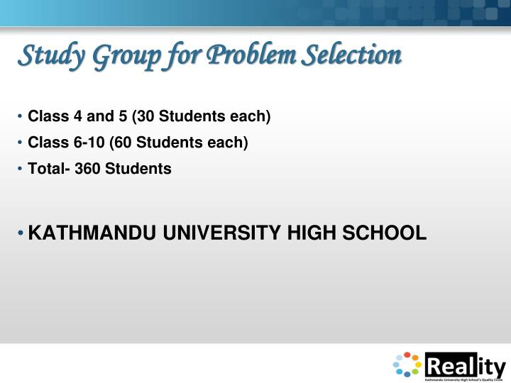 Study Group for Problem Selection