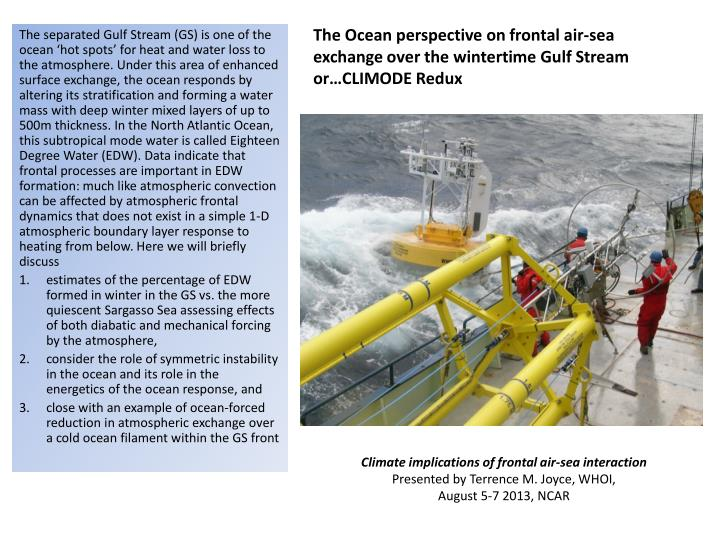 The Ocean perspective on frontal air-sea exchange over the wintertime Gulf Stream or…CLIMODE