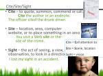 cite site sight