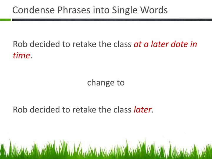 Condense Phrases into Single Words