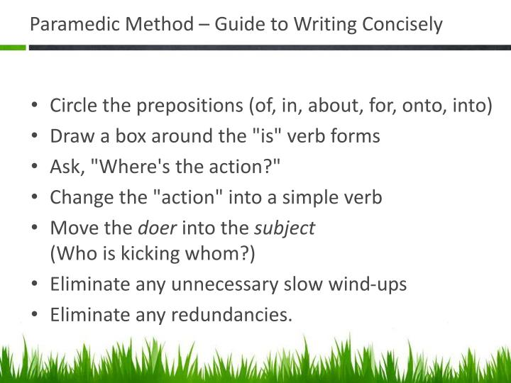 Paramedic Method – Guide to Writing Concisely