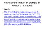 how is your blimp jet an example of newton s third law