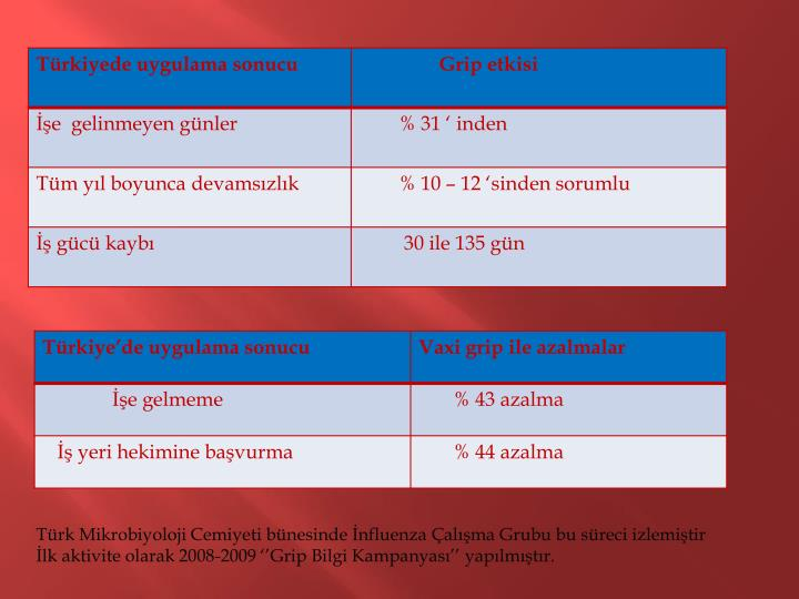 Türk Mikrobiyoloji Cemiyeti bünesinde İnfluenza Çalışma Grubu bu süreci izlemiştir