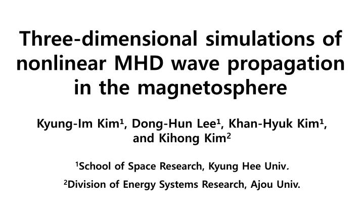 Three dimensional simulations of nonlinear mhd wave propagation in the magnetosphere