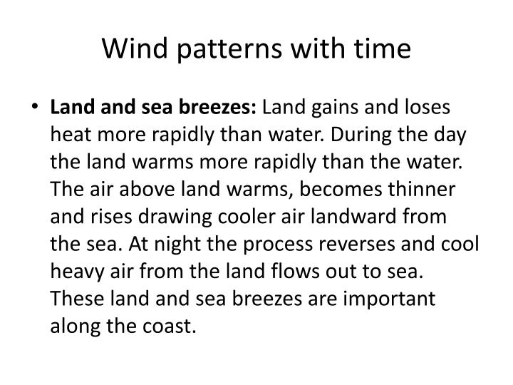 Wind patterns with time