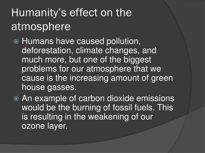 Humanity's effect on the atmosphere