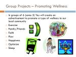 group projects promoting wellness