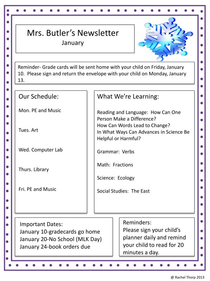 Mrs. Butler's Newsletter