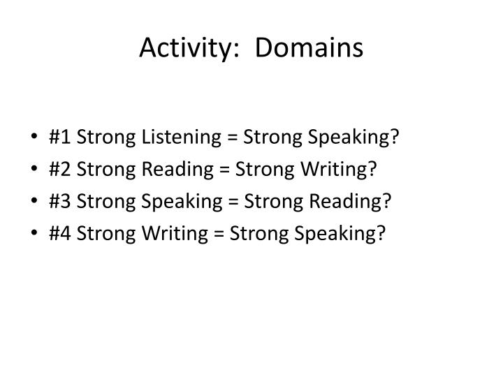 Activity:  Domains