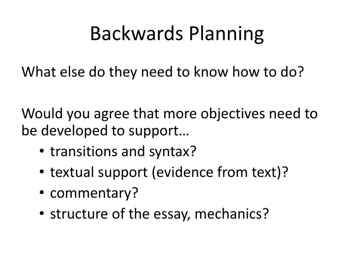 Backwards Planning